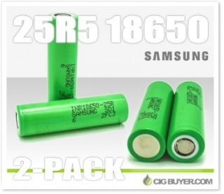 2 x Samsung 25R5 18650 2500mah Battery – $9.26