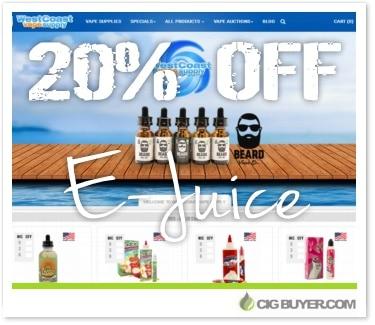 20% OFF E-Juice at West Coast Vape Supply | Cig Buyer com