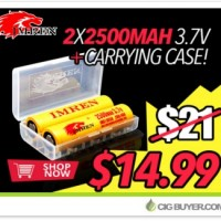 2 x IMREN 18650 (2500mAh/25A) Battery Bundle – $14.99