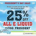 25% OFF All Premium E-Liquid at Breazy.com