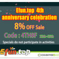 Efun.Top 4th Anniversary Sale – 8% OFF Sitewide + More
