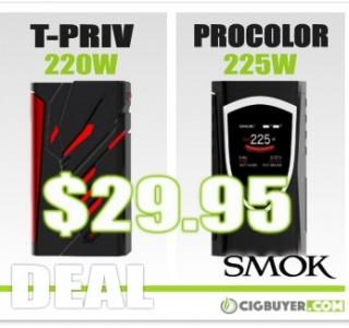 Smok T-Priv 220W / Procolor 225W Box Mods – ONLY $29.95!