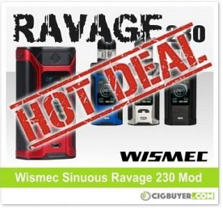 Wismec Sinuous Ravage 230 Box Mod – ONLY $29.95!